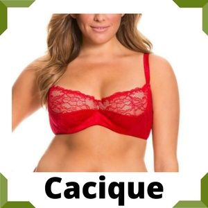 Cacique Jacquard French Balconette Red Bra